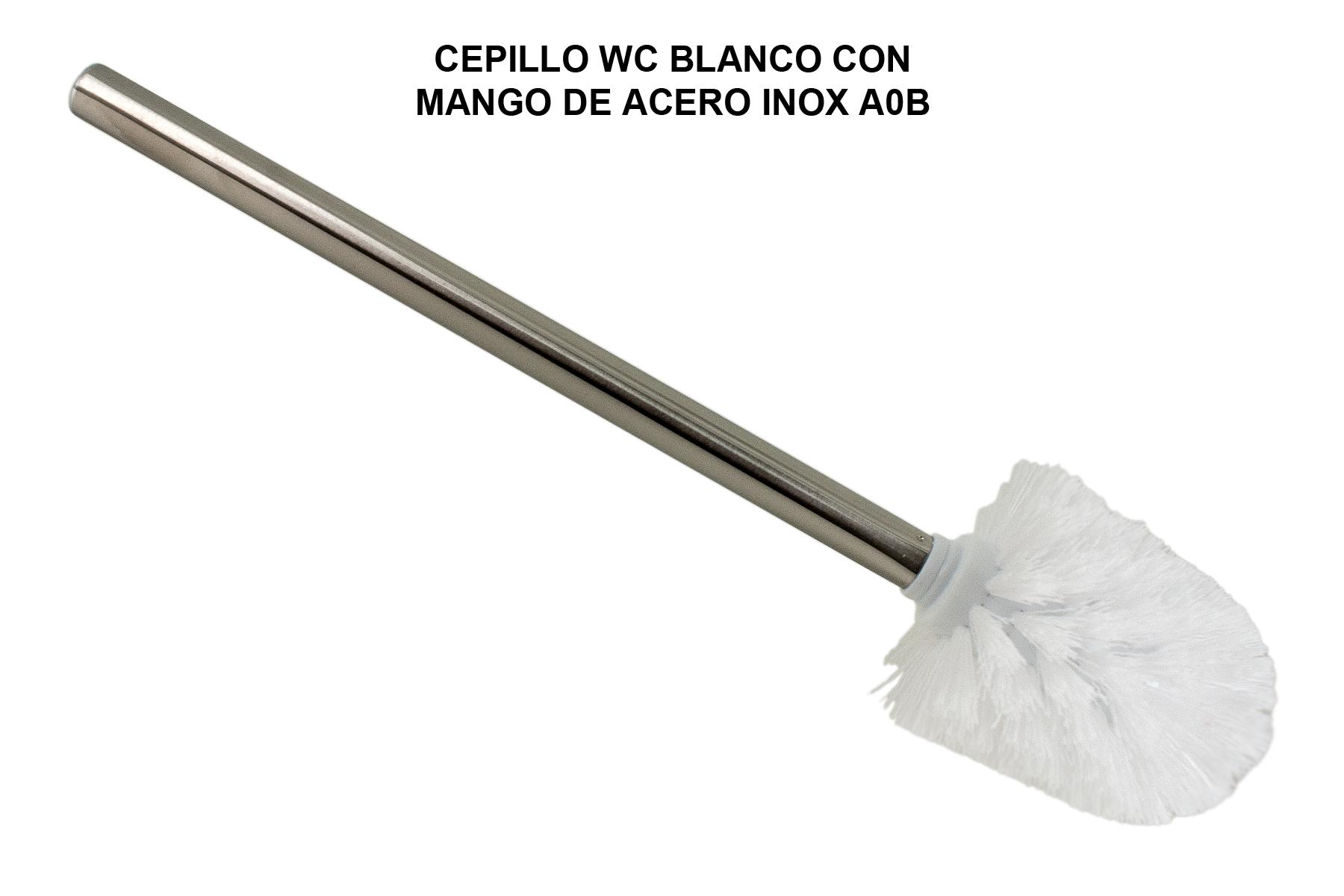 CEPILLO WC BLANCO CON MANGO DE ACERO INOX A0B