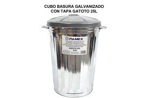 CUBO BASURA GALVANIZADO CON TAPA GATOTO 25L
