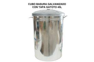 CUBO BASURA GALVANIZADO CON TAPA GATOTO 45L