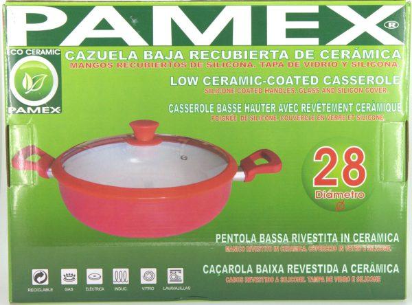 CAZUELA BAJA CERAMICA 28 CM C/TAPA