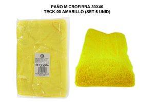 PAÑO MICROFIBRA 30X40 TECK-00 AMARILLO (SET 6 UNID