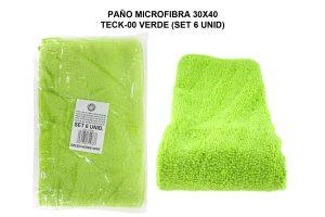 PAÑO MICROFIBRA 30X40 TECK-00 VERDE (SET 6 UNID)
