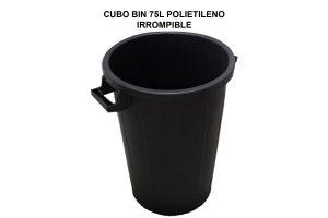 CUBO BIN 75L POLIETILENO IRROMPIBLE NEGRO