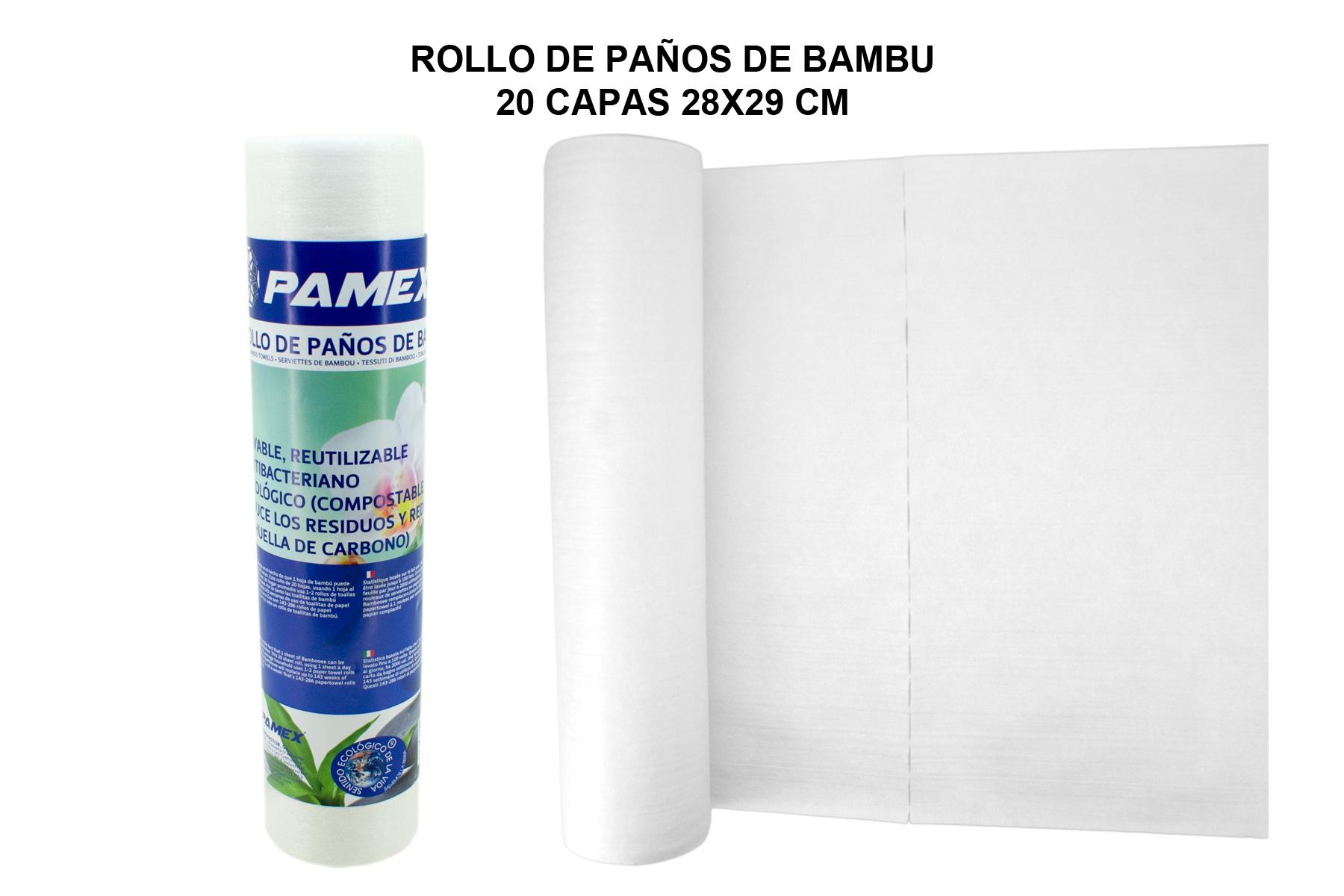 ROLLO DE PAÑOS DE BAMBU 20 CAPAS 28X29 CM