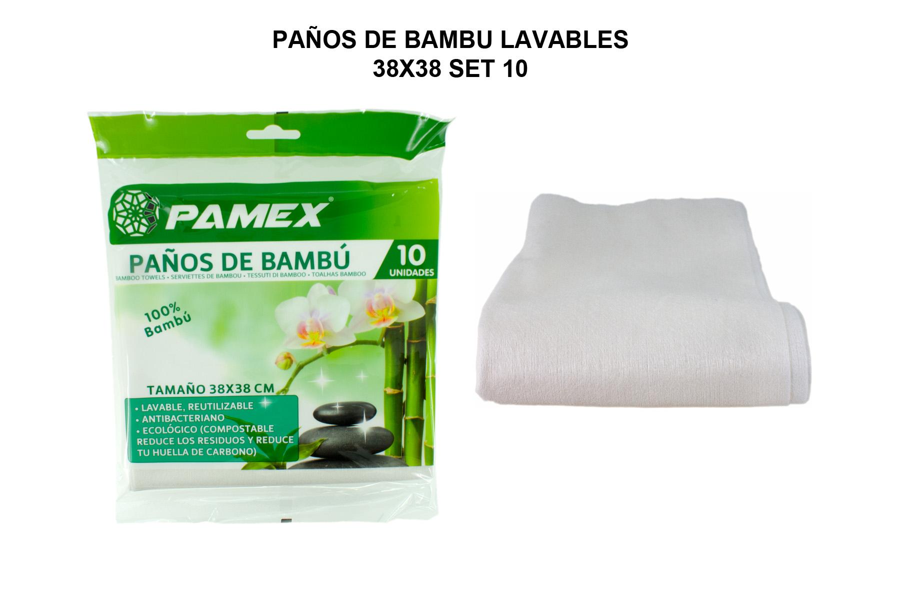 PAÑOS DE BAMBU LAVABLES 38X38 SET 10