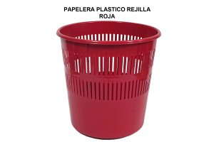 PAPELERA PLASTICO REJILLA ROJA