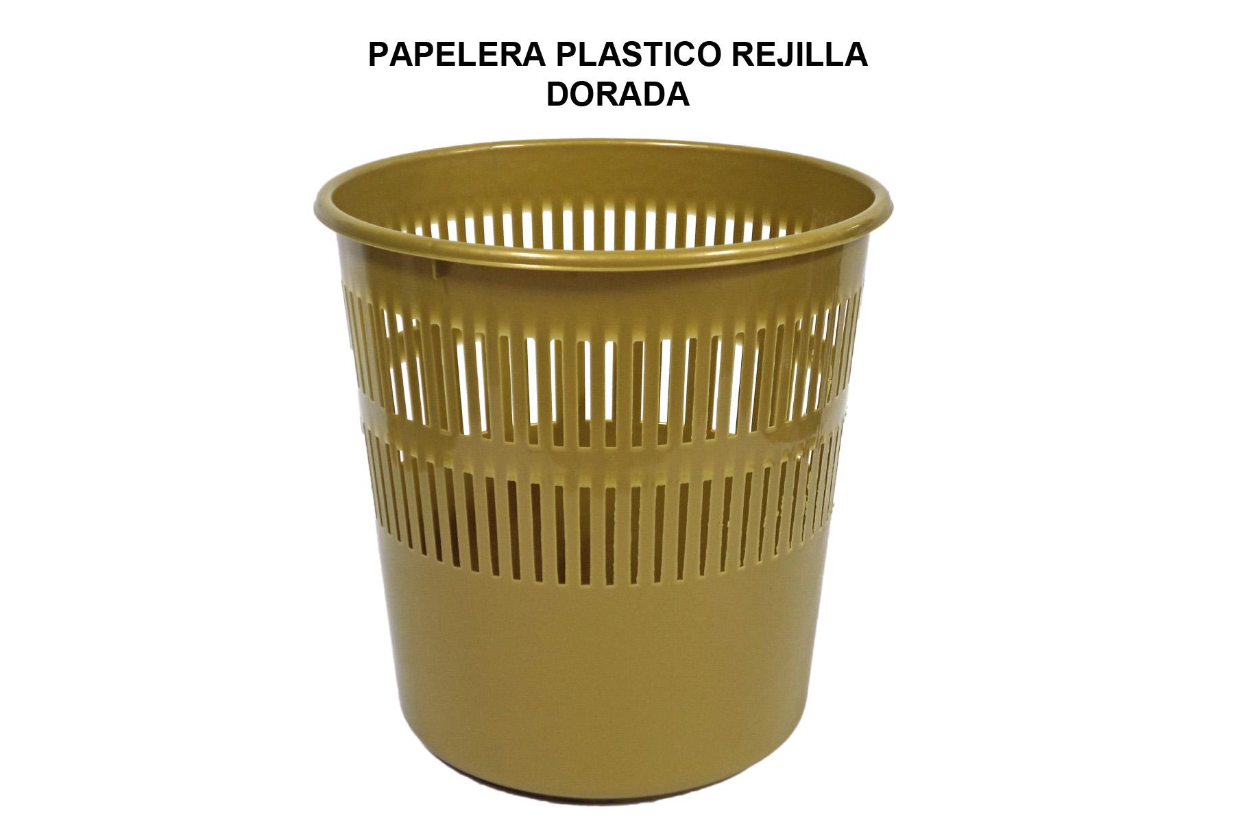 PAPELERA PLASTICO REJILLA DORADA