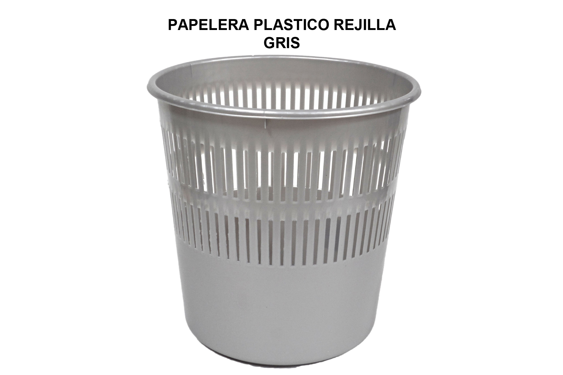 PAPELERA PLASTICO REJILLA GRIS
