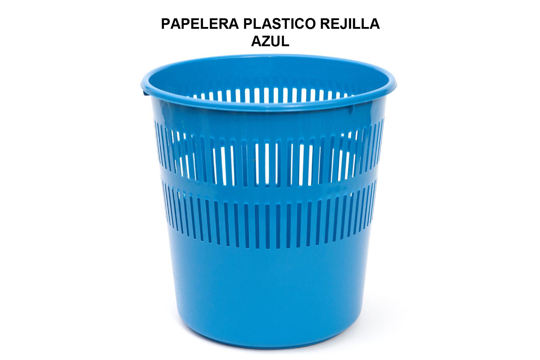 PAPELERA PLASTICO REJILLA AZUL