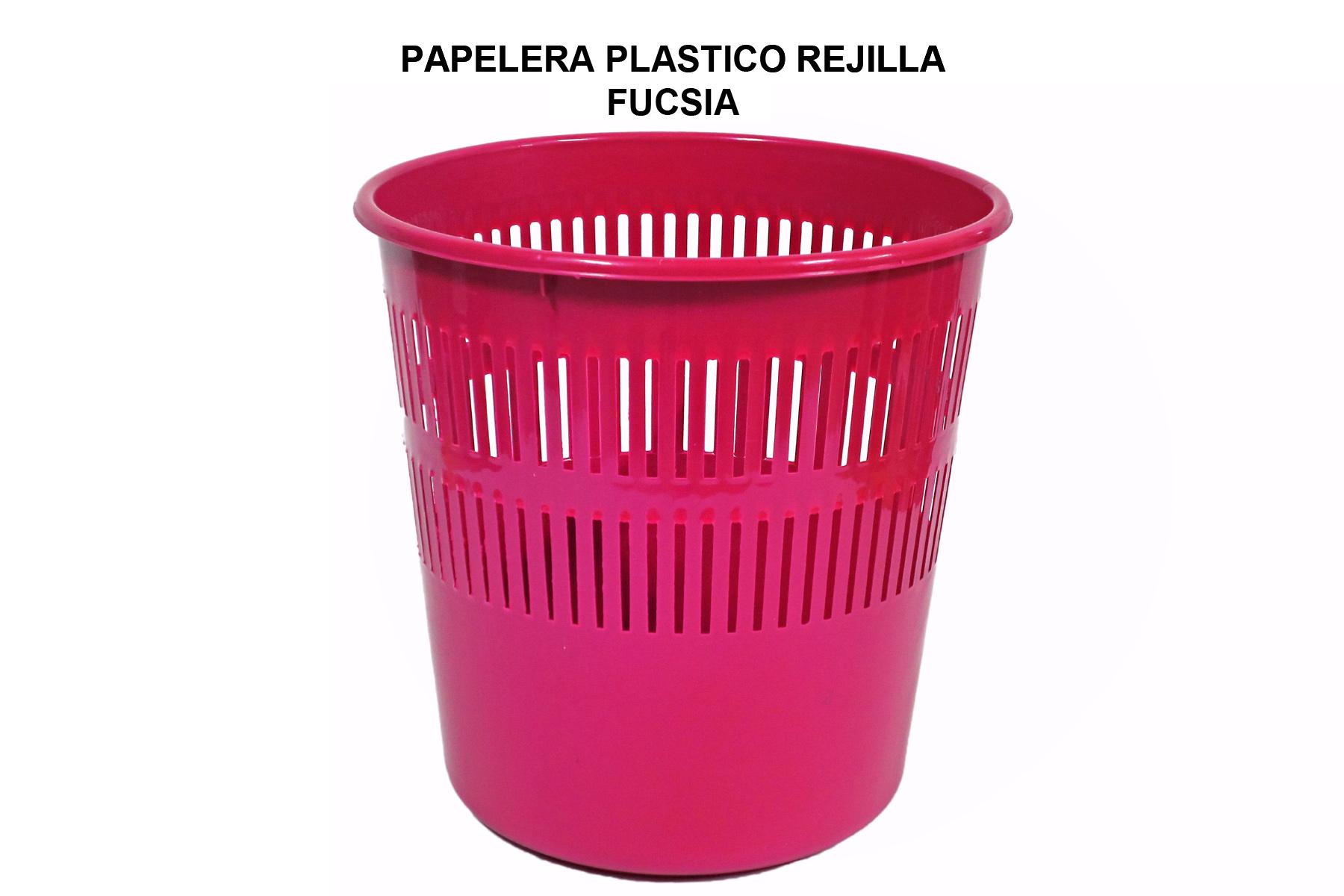 PAPELERA PLASTICO REJILLA FUCSIA