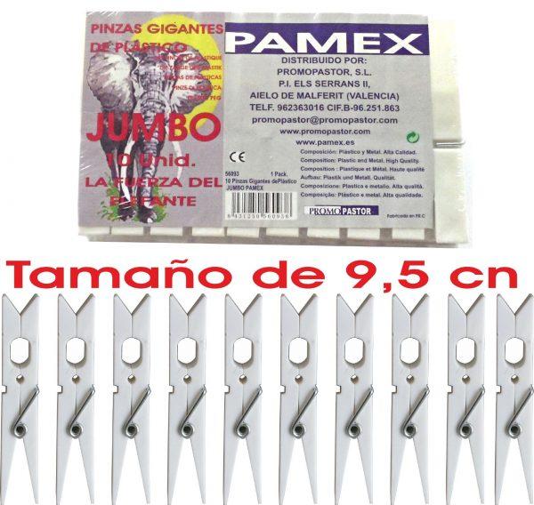 PINZA PLASTICO GIGANTE JUMBO BLANCA 10 UNID. PAMEX