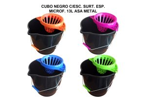 CUBO 13L ESP. MICROFIBRA NEGRO C/ESC. SURT.