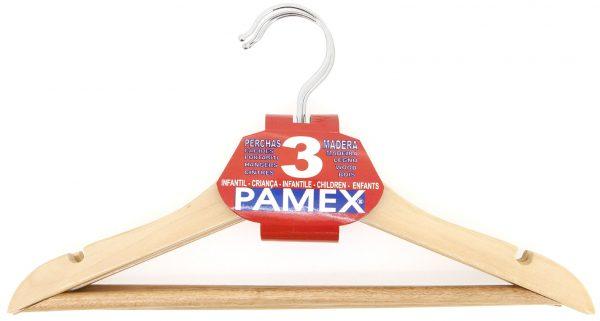 PERCHA MADERA INFANTIL PAMEX SET 3