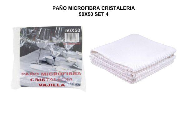 PAÑO MICROFIBRA CRISTALERIA 50X50 SET 4