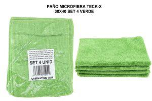 PAÑO MICROFIBRA TECK-X 30X40 - VERDE SET4PC