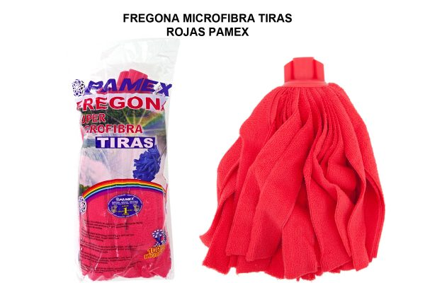 FREGONA MICROFIBRA TIRAS ROJAS PAMEX