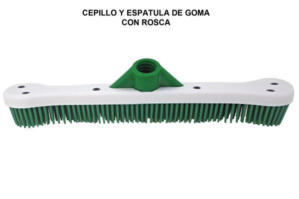 CEPILLO Y ESPATULA DE GOMA CON ROSCA