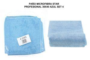 PAÑO MICROF. STAR PROFESIONAL 38X40CM AZUL SET 4