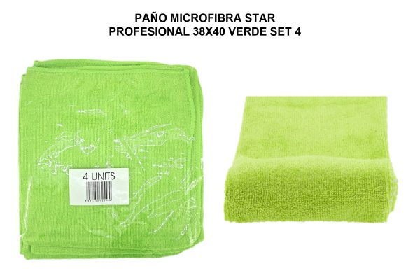 PAÑO MICROF. STAR PROFESIONAL 38X40CM VERDE SET 4