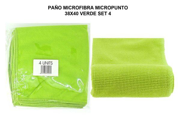PAÑO MICROF. MICROPUNTO 38X40CM VERDE SET 4
