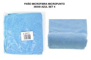 PAÑO MICROF. MICROPUNTO 38X40CM AZUL SET 4