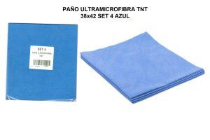 PAÑO ULTRAMICROFIBRA TNT 38x42 SET 4 AZUL