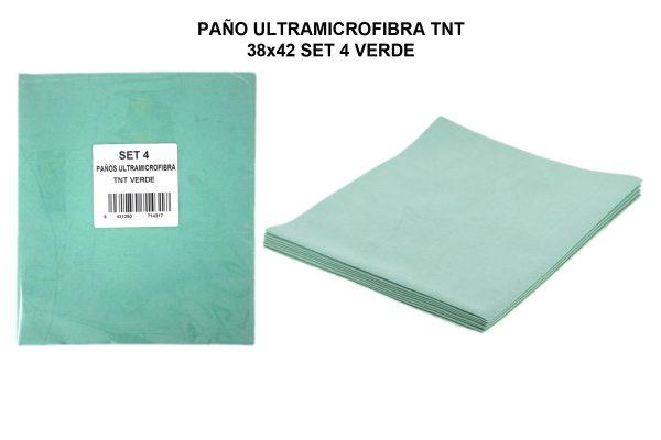 PAÑO ULTRAMICROFIBRA TNT 38x42 SET 4 VERDE