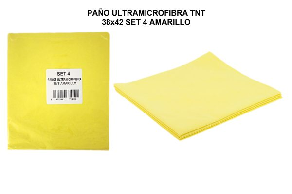PAÑO ULTRAMICROFIBRA TNT 38x42 SET 4 AMARILLO