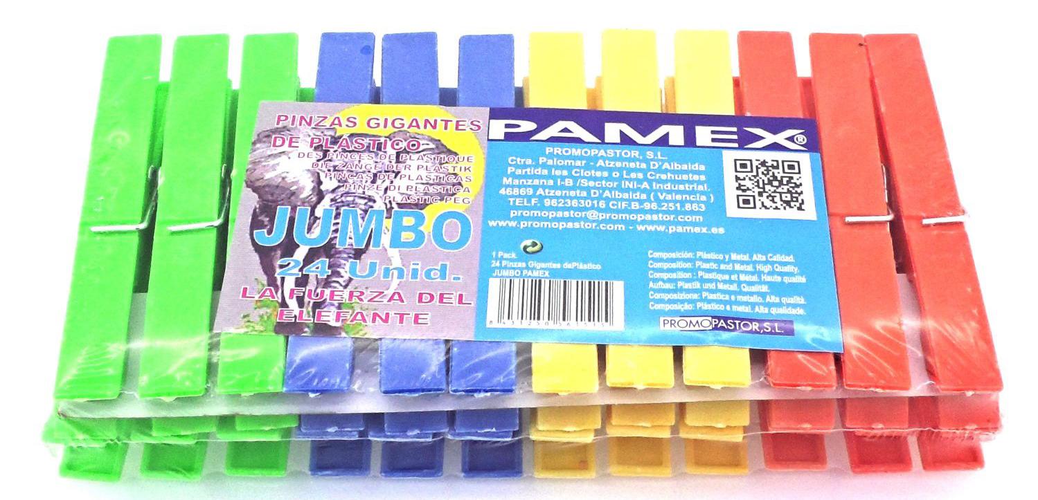 PINZA DE PLASTICO GIGANTE JUMBO 24 UNID PAMEX