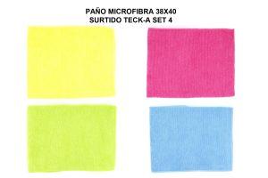 PAÑO MICROFIBRA 38X40 SURTIDO TECK-A SET 4