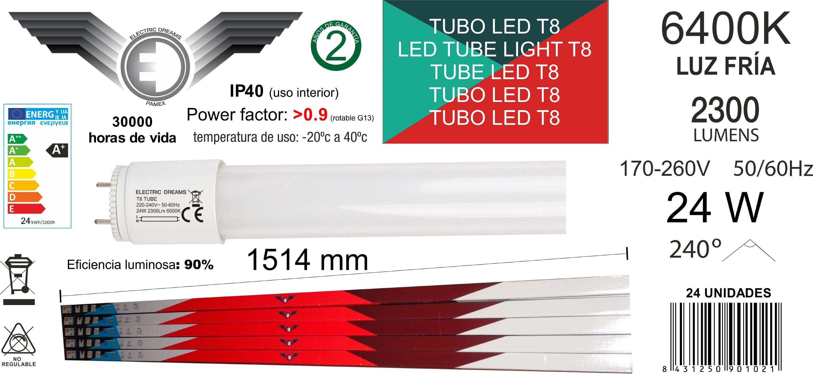 TUBO LED CRISTAL T8