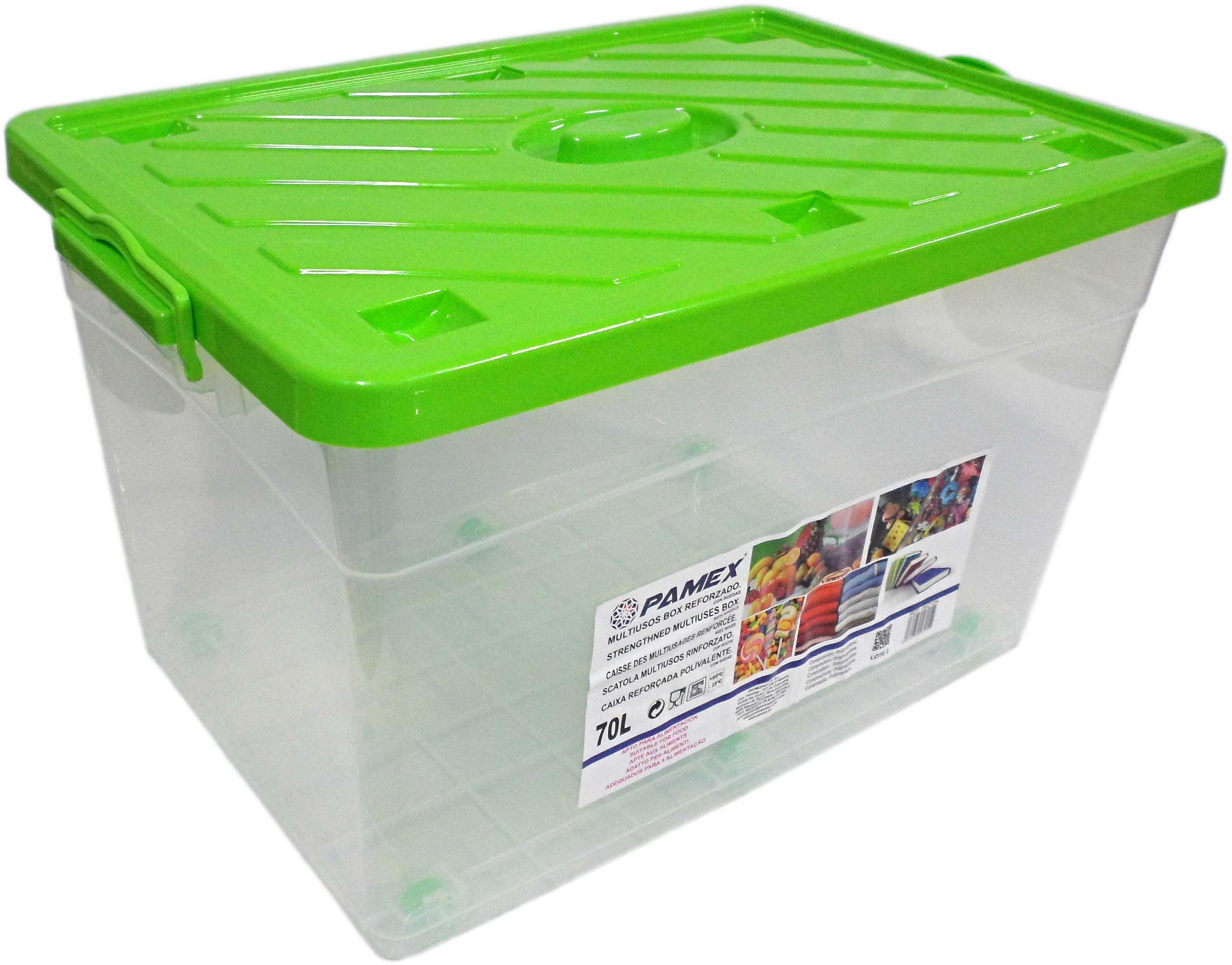 MULTIUSOS BOX REFORZADO C/RUEDAS VERDE 70L