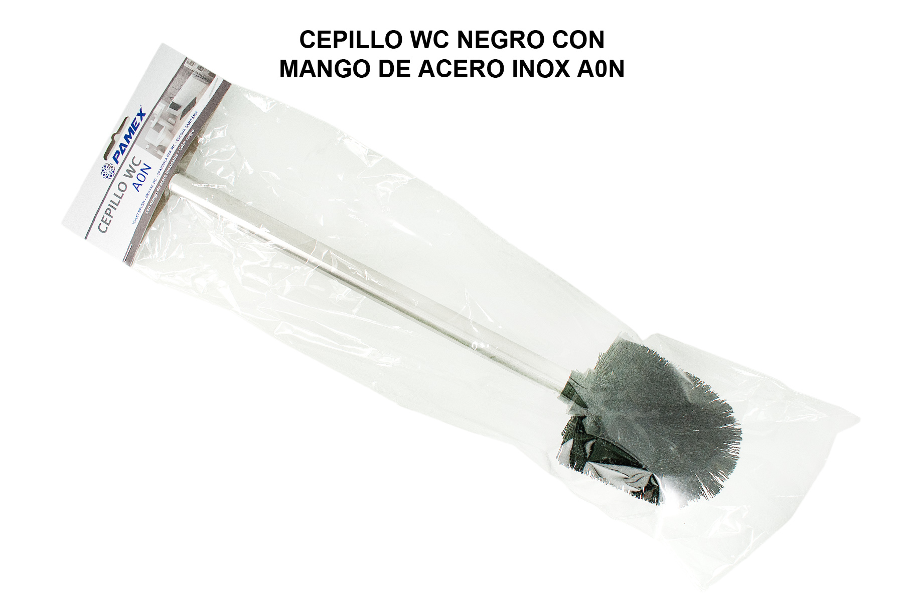 CEPILLO WC NEGRO CON MANGO DE ACERO INOX A0N