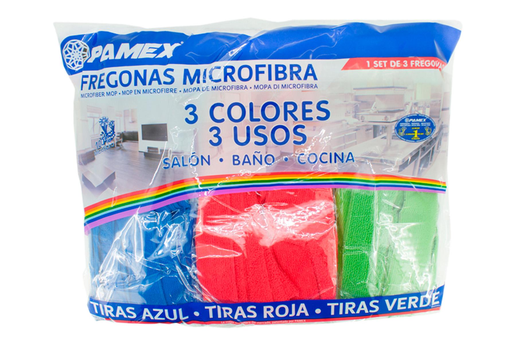 SET 3 FREGONA MICROF. TIRAS COLORES SURTIDOS
