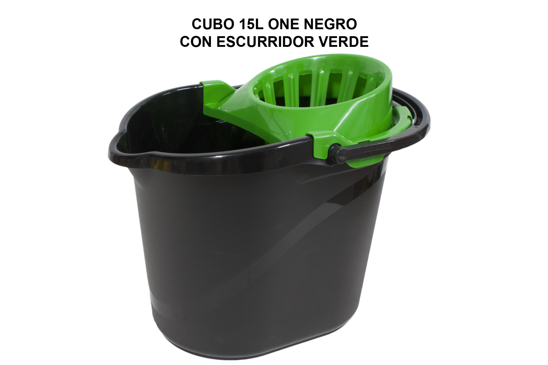 CUBO 15L ONE NEGRO CON ESCURRIDOR VERDE