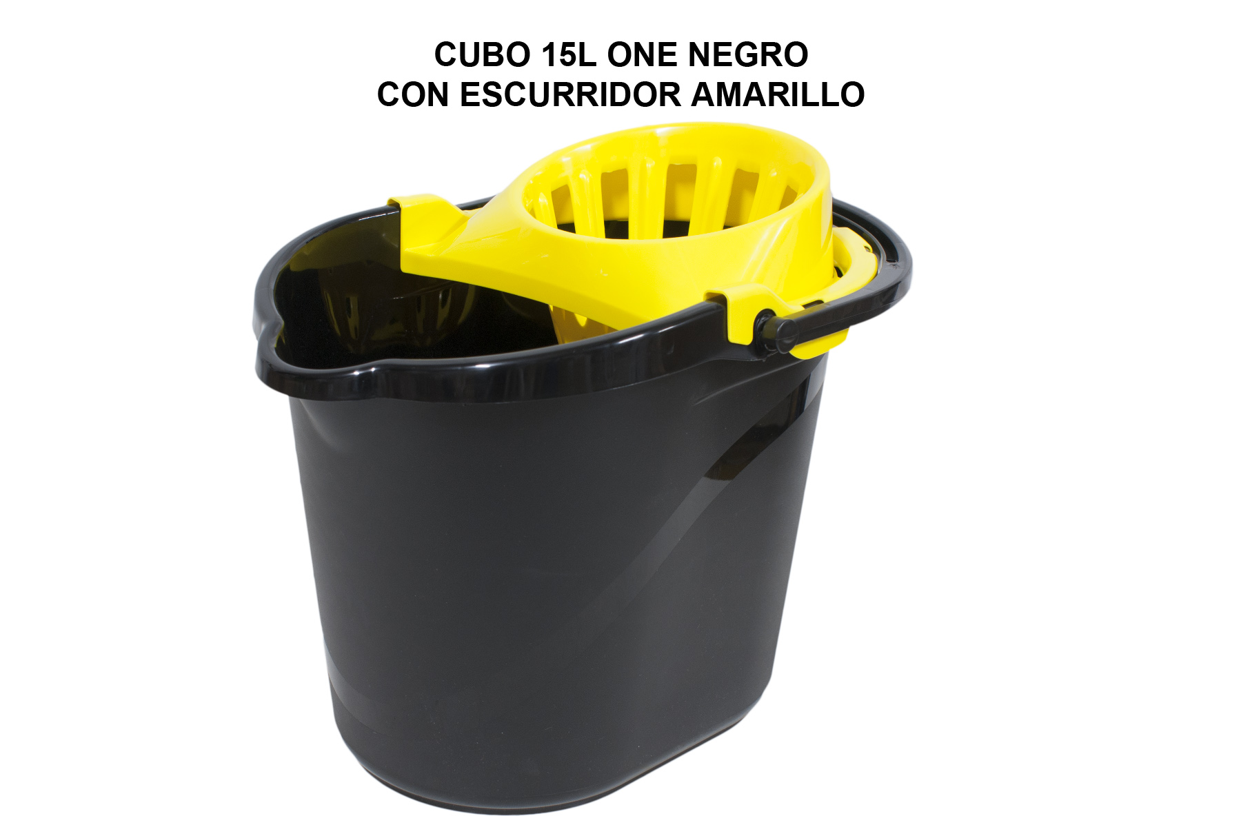 CUBO 15L ONE NEGRO CON ESCURRIDOR AMARILLO