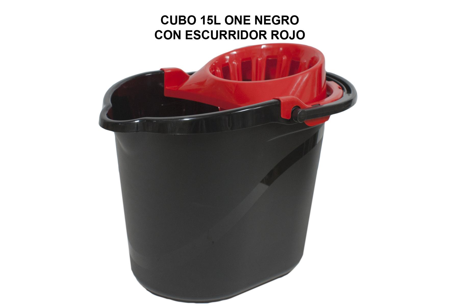 CUBO 15L ONE NEGRO CON ESCURRIDOR ROJO