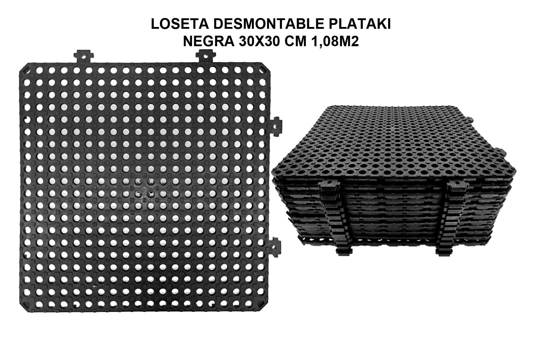 LOSETA DESMON PLATAKI NEGRA 30X30 CM 1,08M2 SET 12