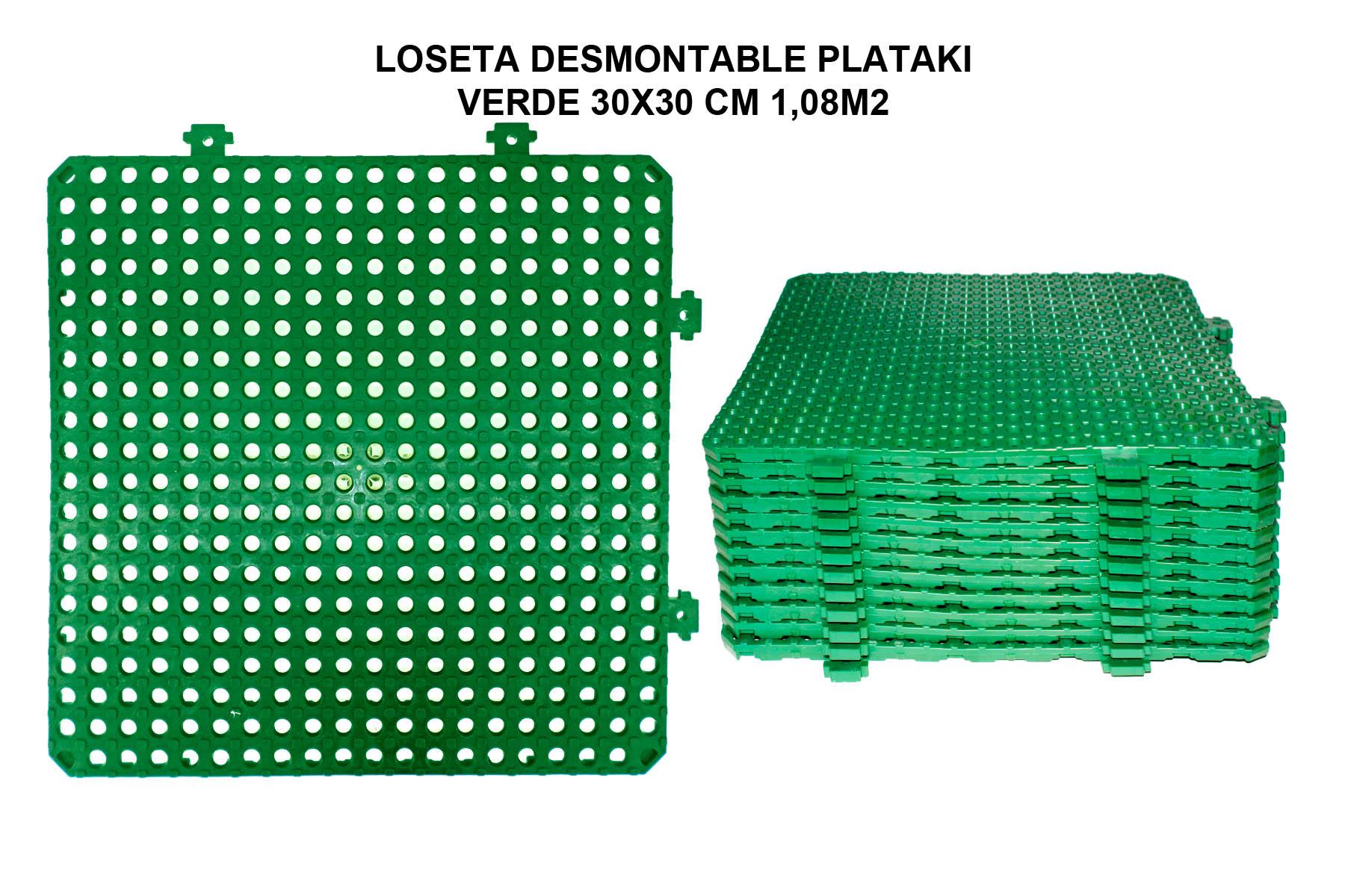 LOSETA DESMON PLATAKI VERDE 30X30 CM 1,08M2 SET 12