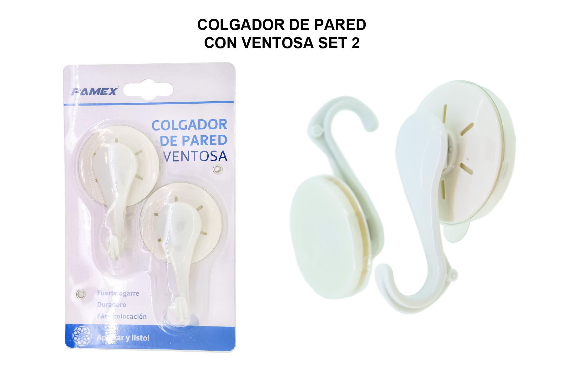 COLGADOR DE PARED CON VENTOSA SET 2