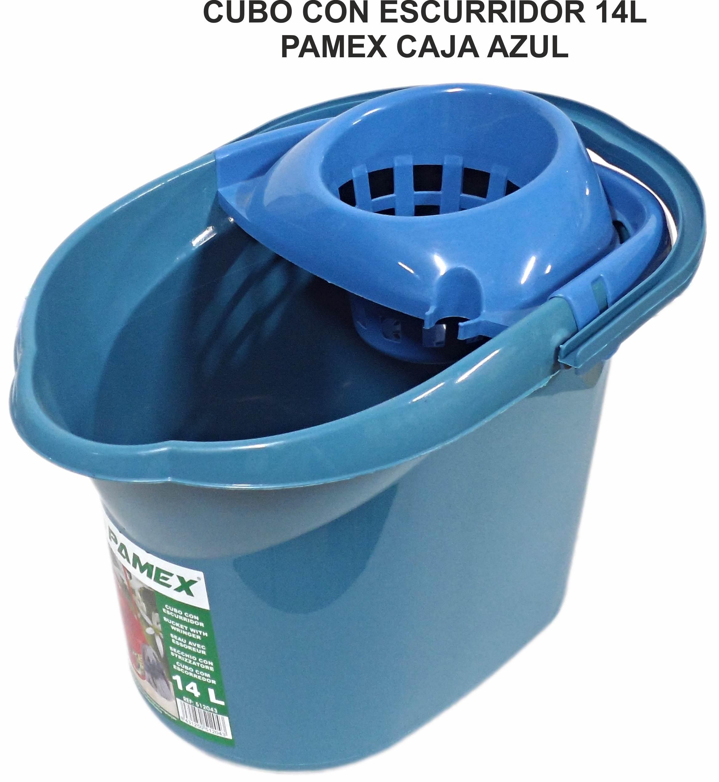 CUBO CON ESCURRIDOR 14 L PAMEX CAJA AZUL