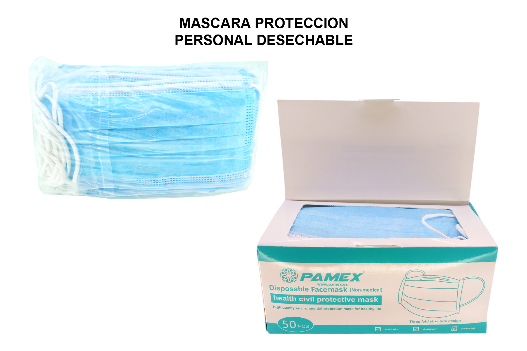 MASCARA PROTECCION PERSONAL DESHECHABLE