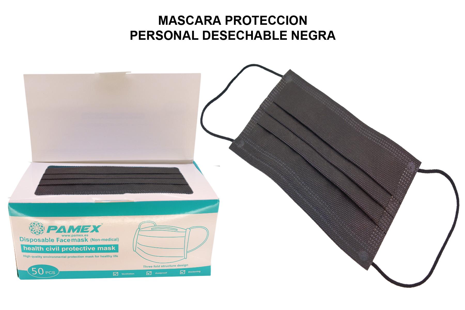 MASCARA PROTECCION PERSONAL DESECHABLE NEGRA