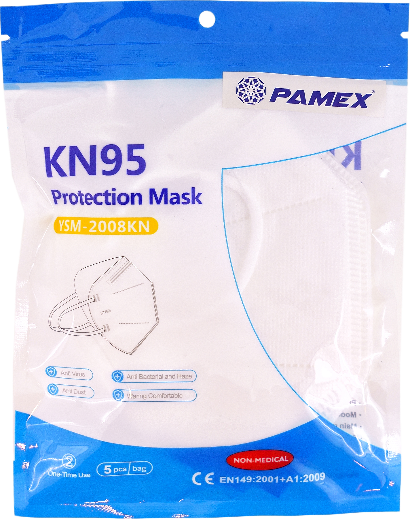 MASCARA PROTECCION PERSONAL KN95 FFP2 5 UNID