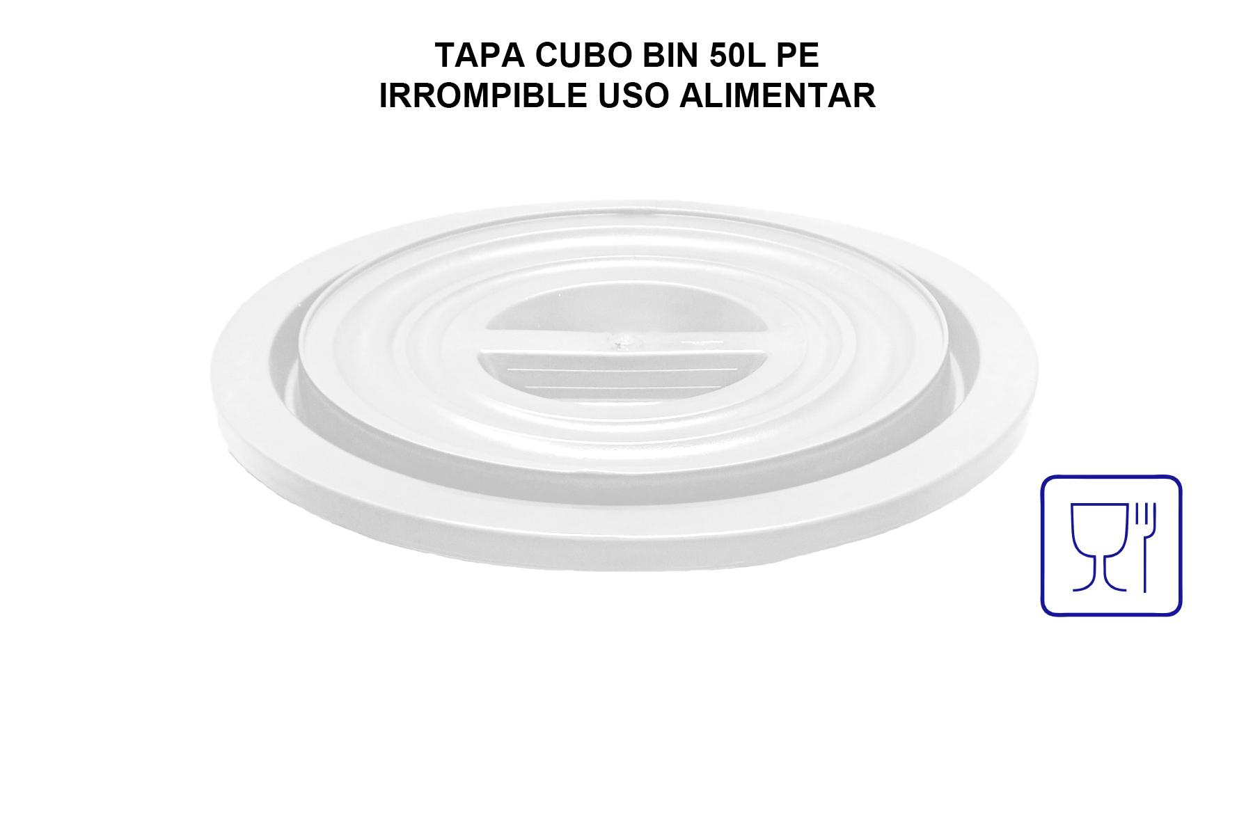 TAPA CUBO BIN 50L PE IRROMPIBLE USO ALIMENTAR