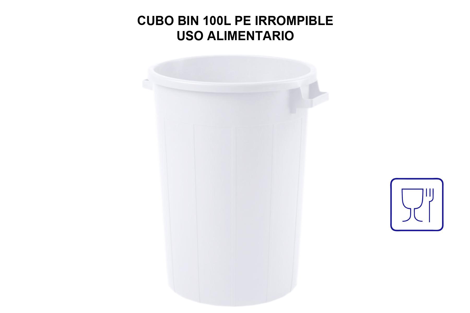 CUBO BIN 100L PE IRROMPIBLE USO ALIMENTARIO